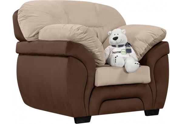 Кресло тканевое Бристоль бежевый/коричневый (Велюр) - фото 1