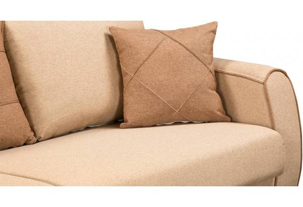 Диван тканевый прямой Флэтфорд бежевый/коричневый (Рогожка) - фото 7