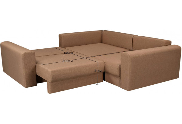 Диван тканевый угловой Медисон Вариант №3 коричневый (Рогожка) - фото 3