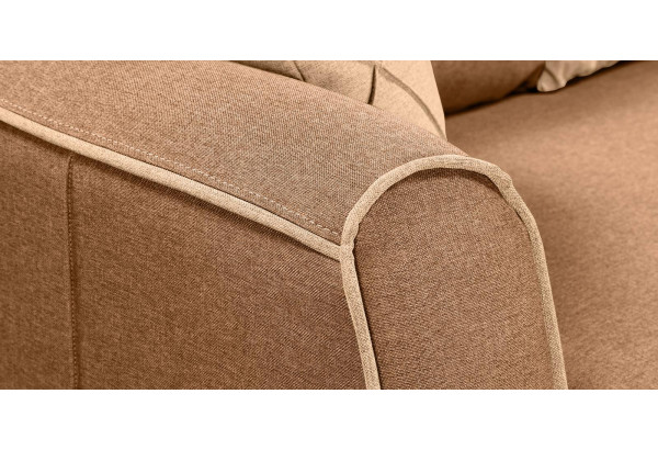 Диван тканевый прямой Флэтфорд коричневый/бежевый (Рогожка) - фото 10