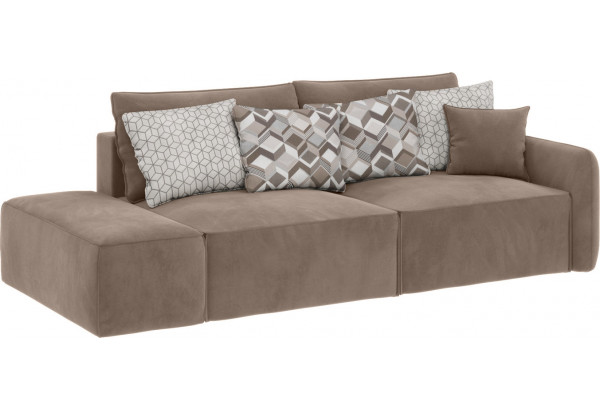 Модульный диван Портленд вариант №2 тёмно-бежевый (Микровелюр) - фото 1