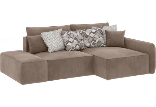 Модульный диван Портленд вариант №3 тёмно-бежевый (Микровелюр, правый) - фото 1