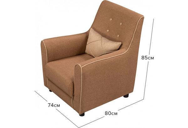 Кресло тканевое Флэтфорд коричневый/бежевый (Рогожка) - фото 2