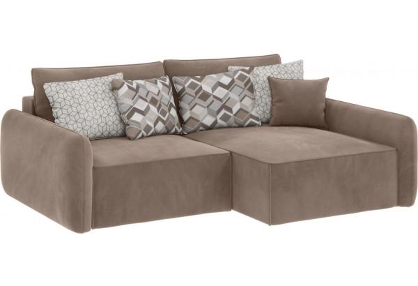 Модульный диван Портленд вариант №4 тёмно-бежевый (Микровелюр, правый) - фото 1