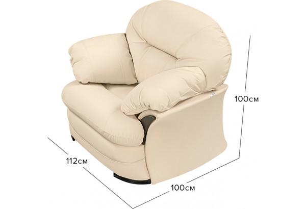 Кресло кожаное Ланкастер Бежевый (Кожаное изделие) - фото 2