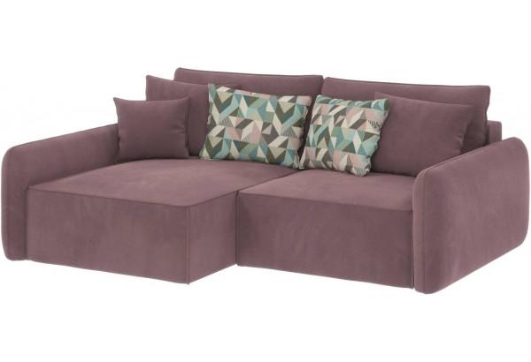 Диван тканевый угловой Портленд вариант №4 розово-серый (Велюр, левый) - фото 1