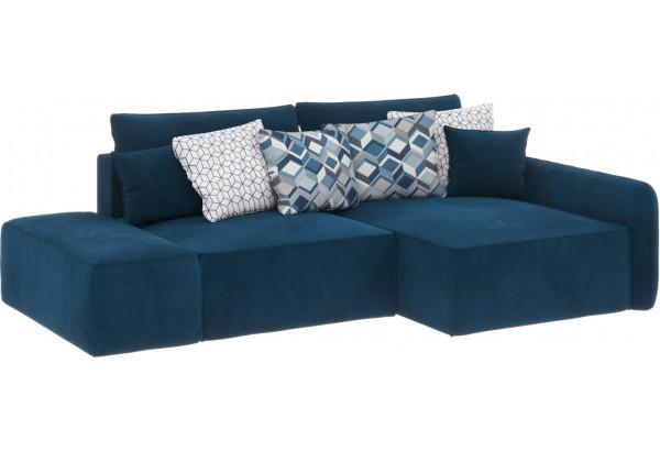 Диван тканевый угловой Портленд вариант №3 светло-синий (Микровелюр, правый) - фото 1