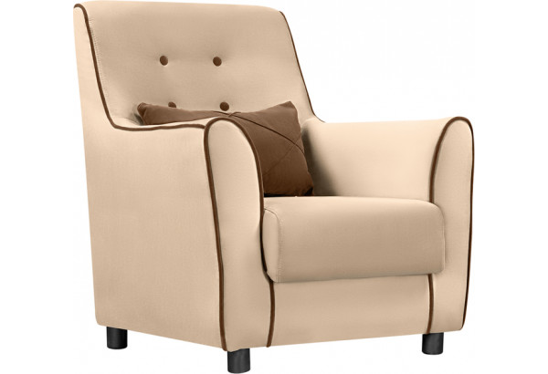 Кресло тканевое Флэтфорд бежевый/коричневый (Велюр) - фото 1