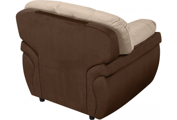 Кресло тканевое Бристоль бежевый/коричневый (Велюр) - фото 3