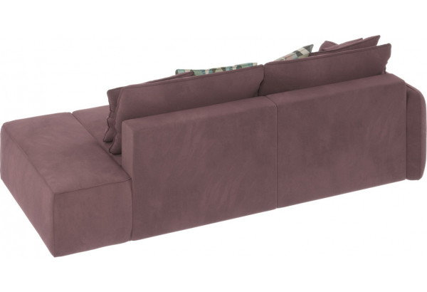 Диван тканевый прямой Портленд вариант №2 розово-серый (Велюр, левый) - фото 4