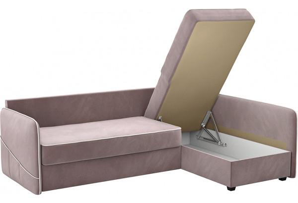 Диван тканевый угловой Слим светло-розовый (Велюр, левый) - фото 5