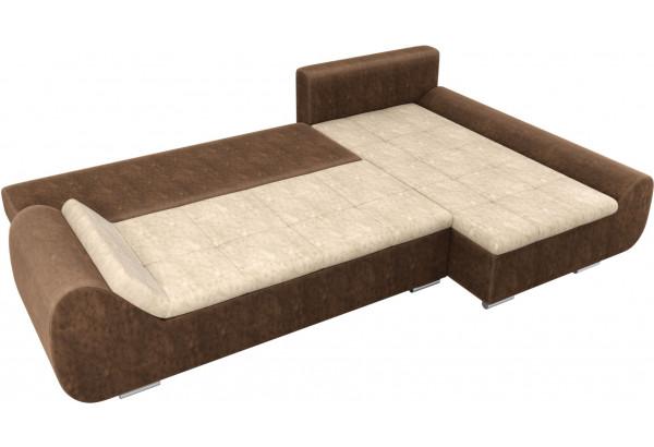 Угловой диван Анталина бежевый/коричневый (Велюр) - фото 8