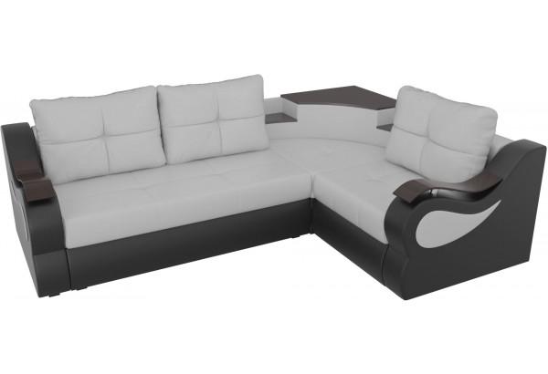 Угловой диван Митчелл Белый/Черный (Экокожа) - фото 4