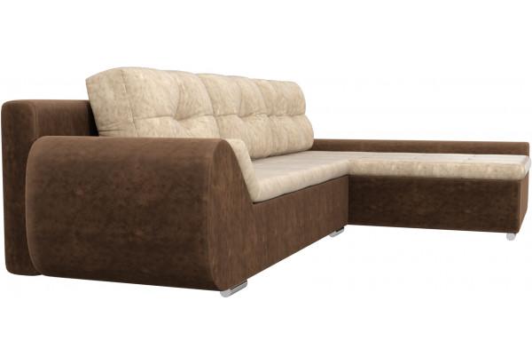 Угловой диван Анталина бежевый/коричневый (Велюр) - фото 3