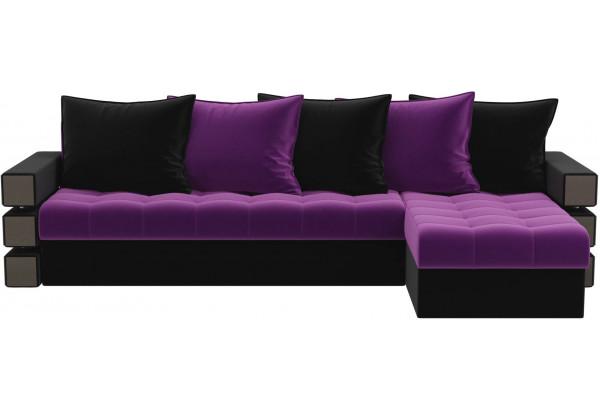 Угловой диван Венеция Фиолетовый/Черный (Микровельвет) - фото 2