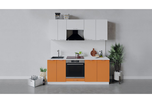 Кухонный гарнитур «Весна» длиной 200 см со шкафом НБ (Белый/Белый глянец/Оранж глянец) - фото 1