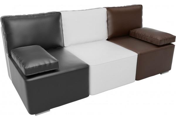 Диван прямой Радуга Черный/белый/коричневый (Экокожа) - фото 2