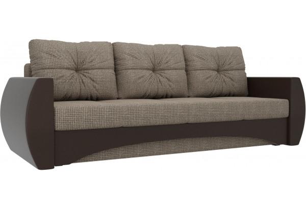 Прямой диван Сатурн коричневый/коричневый (Корфу/экокожа) - фото 1