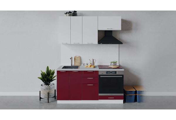 Кухонный гарнитур «Весна» длиной 160 см со шкафом НБ (Белый/Белый глянец/Бордо глянец) - фото 1