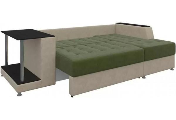 Угловой диван Атланта Зеленый/Бежевый (Микровельвет) - фото 3