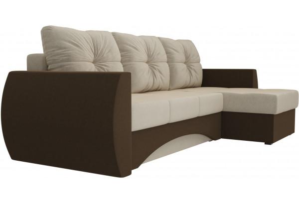 Угловой диван Сатурн бежевый/коричневый (Микровельвет) - фото 3