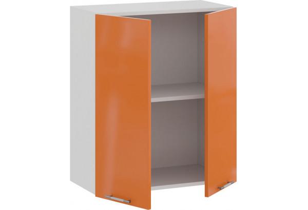 Шкаф навесной c двумя дверями «Весна» (Белый/Оранж глянец) - фото 2