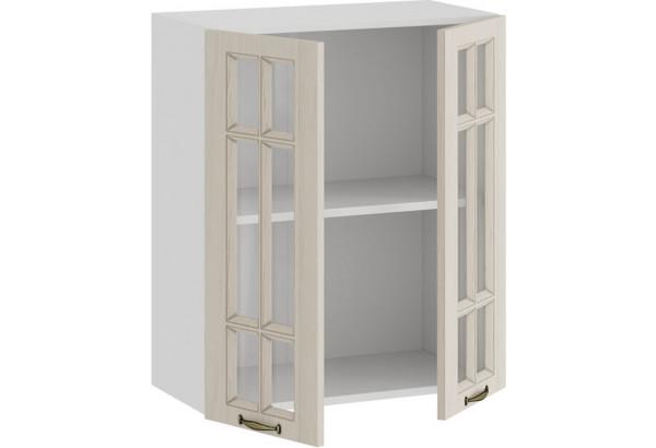 Шкаф навесной c двумя дверями со стеклом «Лина» (Белый/Крем) - фото 2