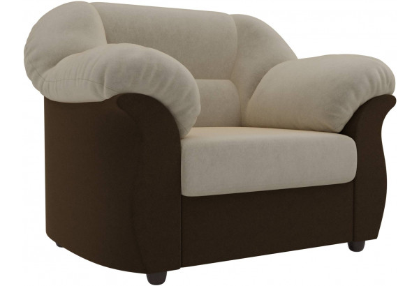 Кресло Карнелла бежевый/коричневый (Микровельвет) - фото 1