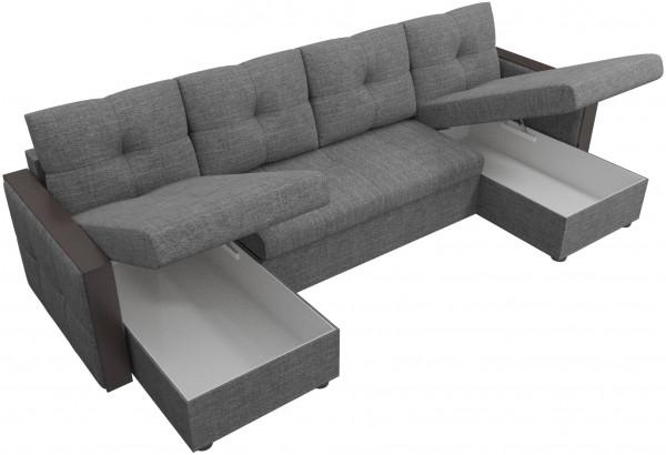П-образный диван Валенсия Серый (Рогожка) - фото 5