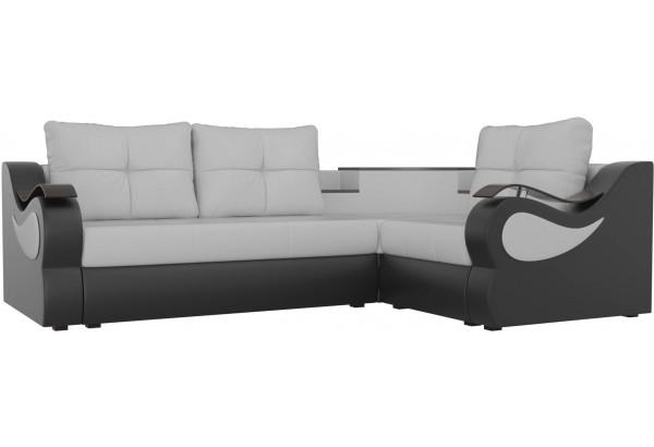 Угловой диван Митчелл Белый/Черный (Экокожа) - фото 1