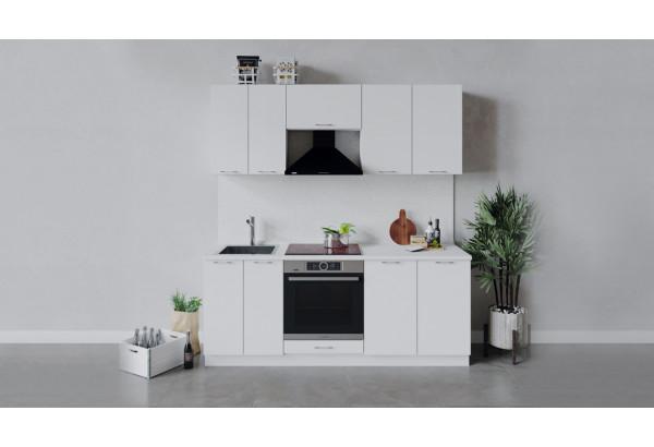 Кухонный гарнитур «Весна» длиной 200 см со шкафом НБ (Белый/Белый глянец) - фото 1