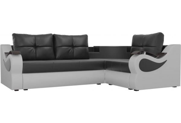 Угловой диван Митчелл Черный/Белый (Экокожа) - фото 1