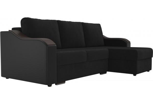 Угловой диван Монако черный/черный (Велюр/Экокожа) - фото 3