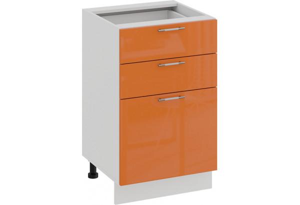 Шкаф напольный с тремя ящиками «Весна» (Белый/Оранж глянец) - фото 1