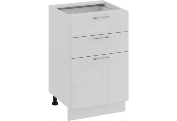 Шкаф напольный с тремя ящиками «Весна» (Белый/Белый глянец) - фото 1
