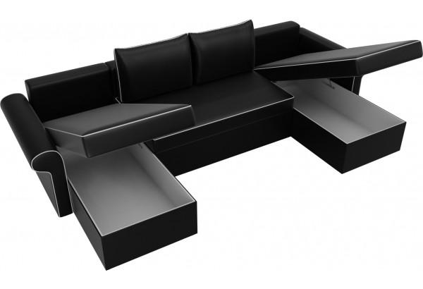 П-образный диван Милфорд Черный (Экокожа) - фото 5