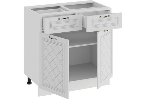 Шкаф напольный с двумя ящиками и двумя дверями «Бьянка» (Белый/Дуб белый) - фото 2