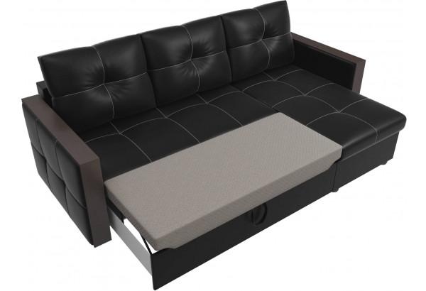 Угловой диван Валенсия Черный (Экокожа) - фото 6