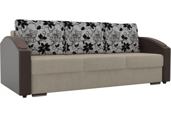 Прямой диван Монако slide бежевый/коричневый (Микровельвет/Экокожа/флок на рогожке) - фото 1
