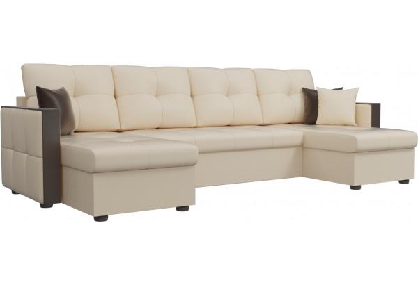 П-образный диван Валенсия Бежевый (Экокожа) - фото 1