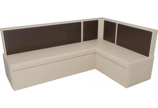 Кухонный угловой диван Кристина бежевый/коричневый (Экокожа) - фото 4
