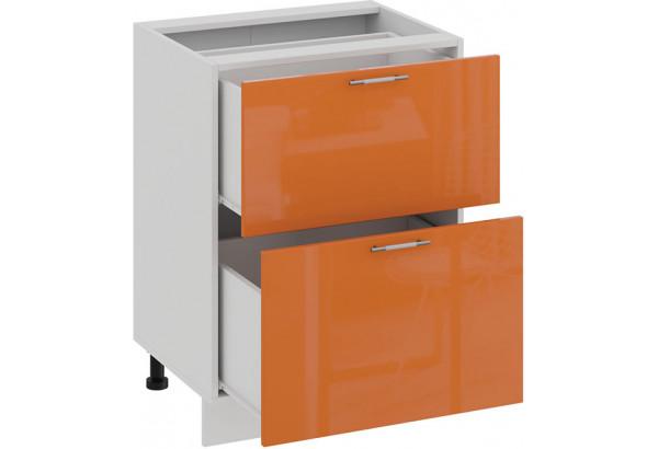 Шкаф напольный с двумя ящиками «Весна» (Белый/Оранж глянец) - фото 2