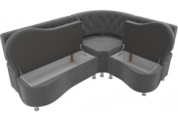 Кухонный угловой диван Вегас Серый (Велюр) - фото 5
