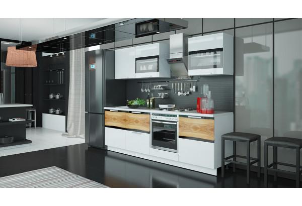 Кухонный гарнитур длиной - 240 см (со шкафом НБ) Фэнтези (Белый универс)/(Вуд) - фото 2