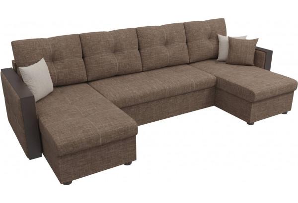 П-образный диван Валенсия Коричневый (Рогожка) - фото 4