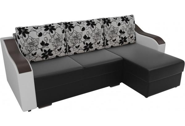 Угловой диван Монако Черный/Белый/Цветы (Экокожа/рогожка) - фото 4