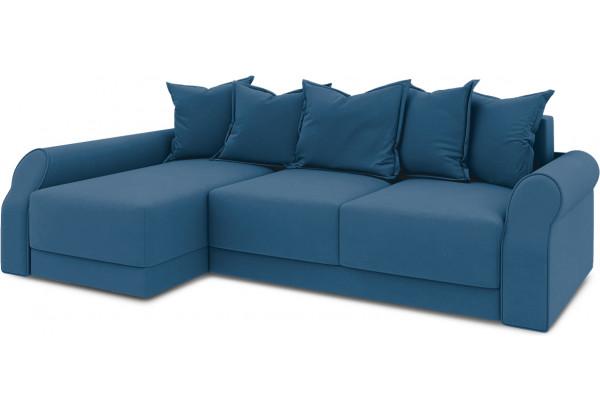 Диван угловой левый «Люксор Т2» Beauty 07 (велюр) синий - фото 1