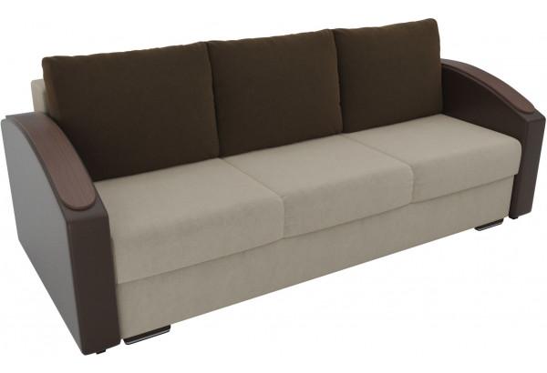Прямой диван Монако slide бежевый/коричневый (Микровельвет/Экокожа) - фото 4