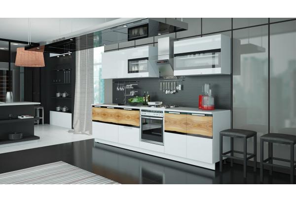 Кухонный гарнитур длиной - 300 см (со шкафом НБ) Фэнтези (Белый универс)/(Вуд) - фото 2