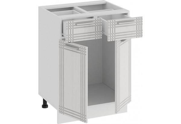 Шкаф напольный с двумя ящиками и двумя дверями «Ольга» (Белый/Белый) - фото 2
